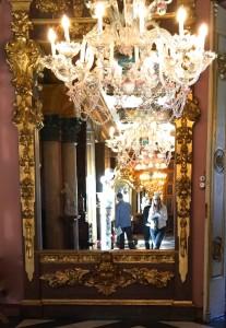 vamirror and chandelier