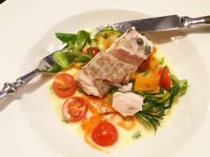 Pan seared cod on tagliatelle vegetables. Divine.