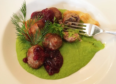 Meatballs with cranberries on zucchini puree. Yum.